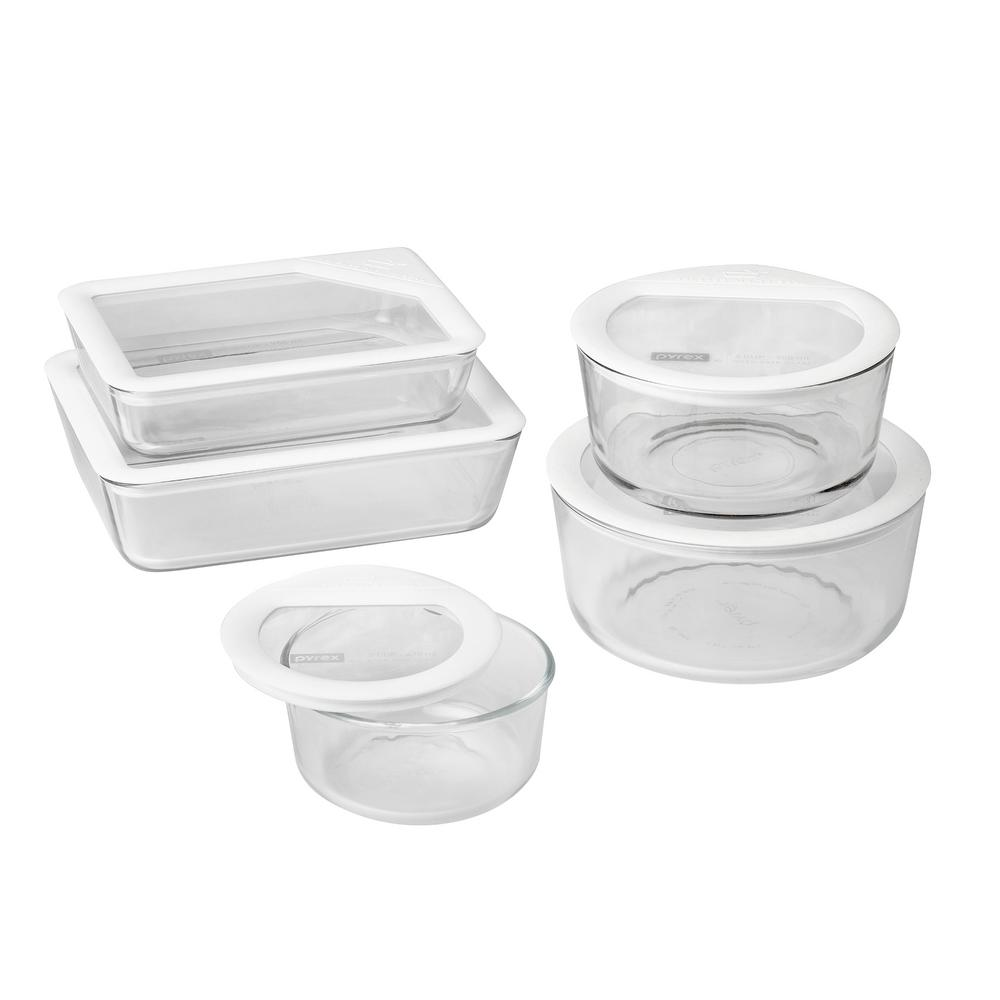 pyrex ultimate storage 10 piece glass storage set with white lids 1122762 the home depot. Black Bedroom Furniture Sets. Home Design Ideas