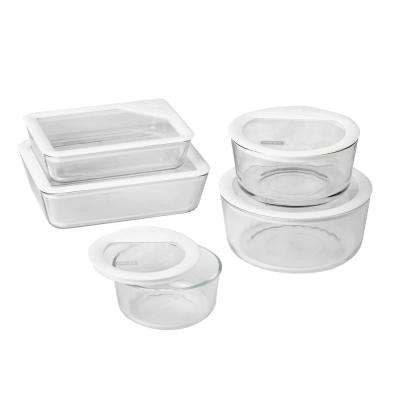 Ultimate Storage 10-Piece Glass Storage Set with White Lids