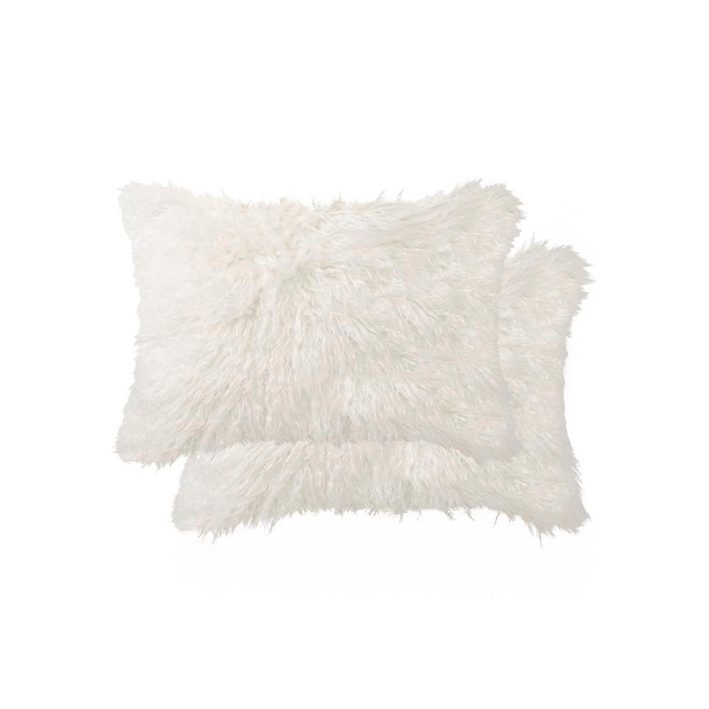 Belton Off White 12 in. x 20 in. Faux Sheepskin Decorative Pillow (Set of 2)