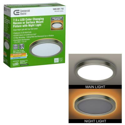 7.5 in. Brushed Nickel Selectable LED Flush Mount Round Flat Panel with Night Light Feature 800 Lumens 3 Mount Options