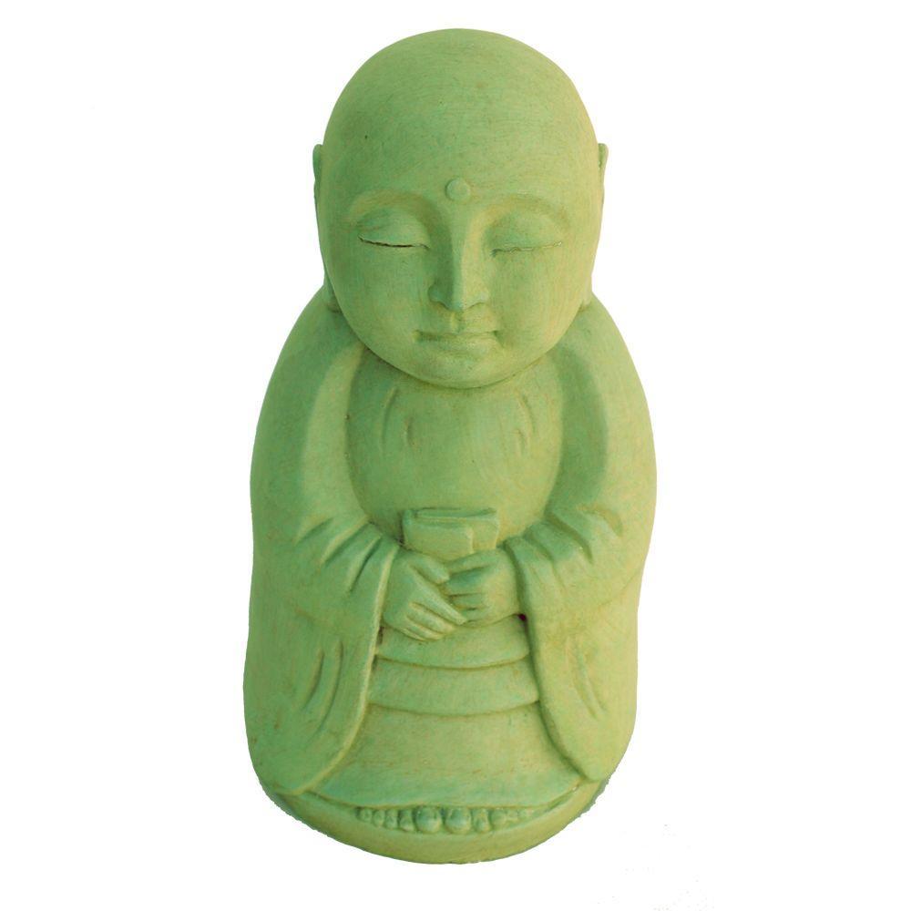 Cast Stone Standing Jizo Garden Statue - Weathered Bronze