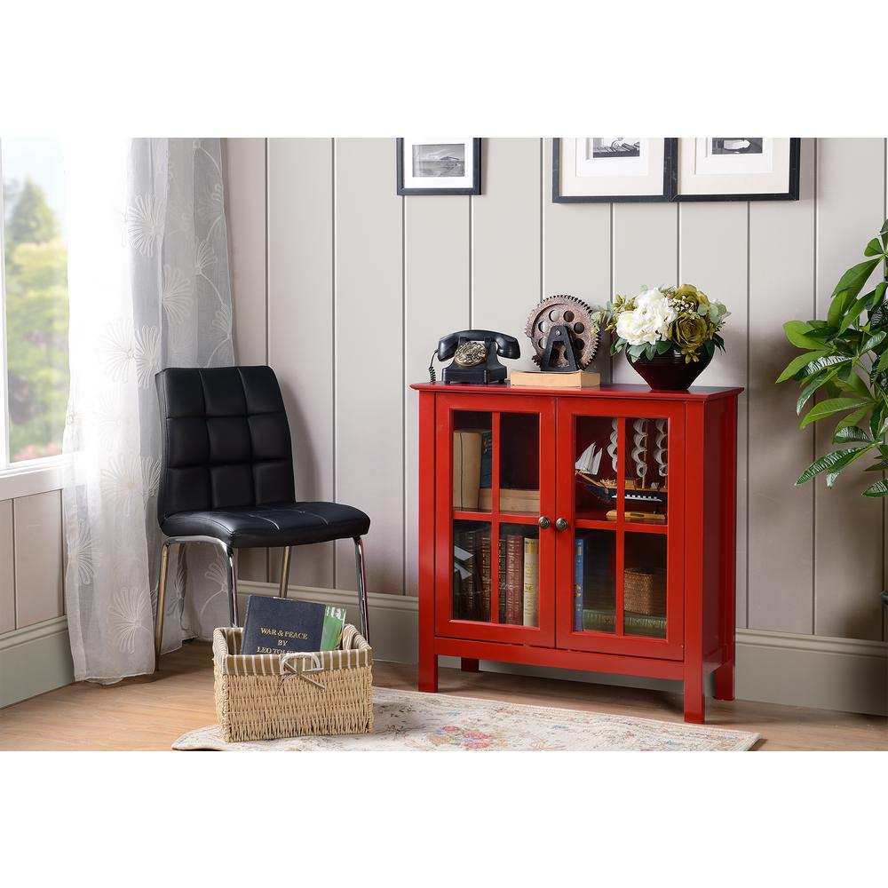 OS Home And Office Furniture OS Home And Office Red Glass Door Accent And  Display Cabinet