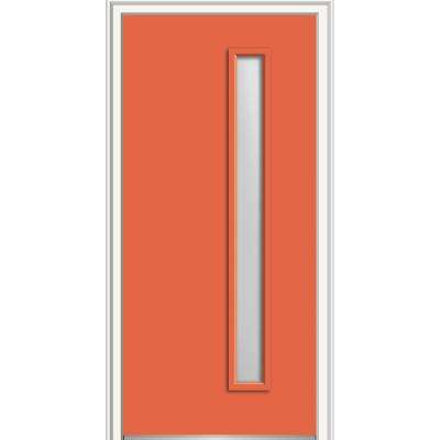 32 in. x 80 in. Viola Right-Hand Inswing 1-Lite Frosted Glass Painted Steel Prehung Front Door on 4-9/16 in. Frame