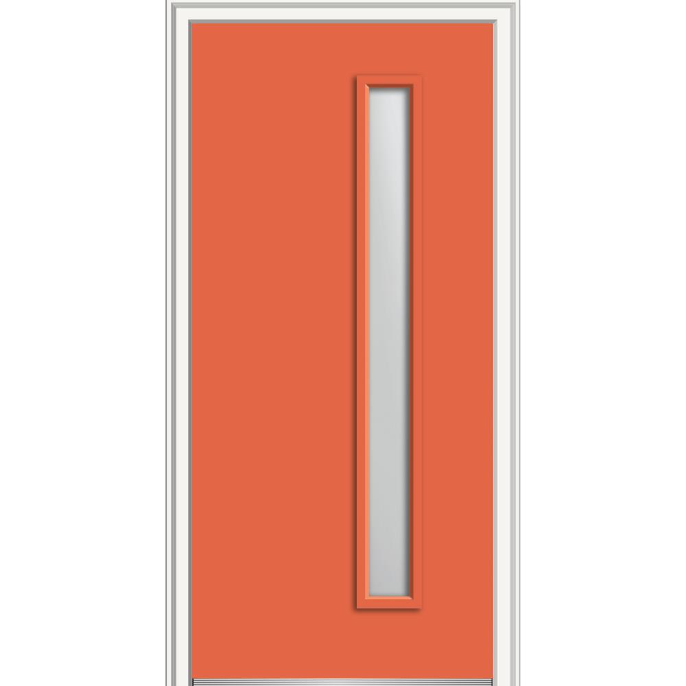 MMI Door 36 in. x 80 in. Viola Right-Hand Inswing 1-Lite Frosted Glass Painted Steel Prehung Front Door on 6-9/16 in. Frame