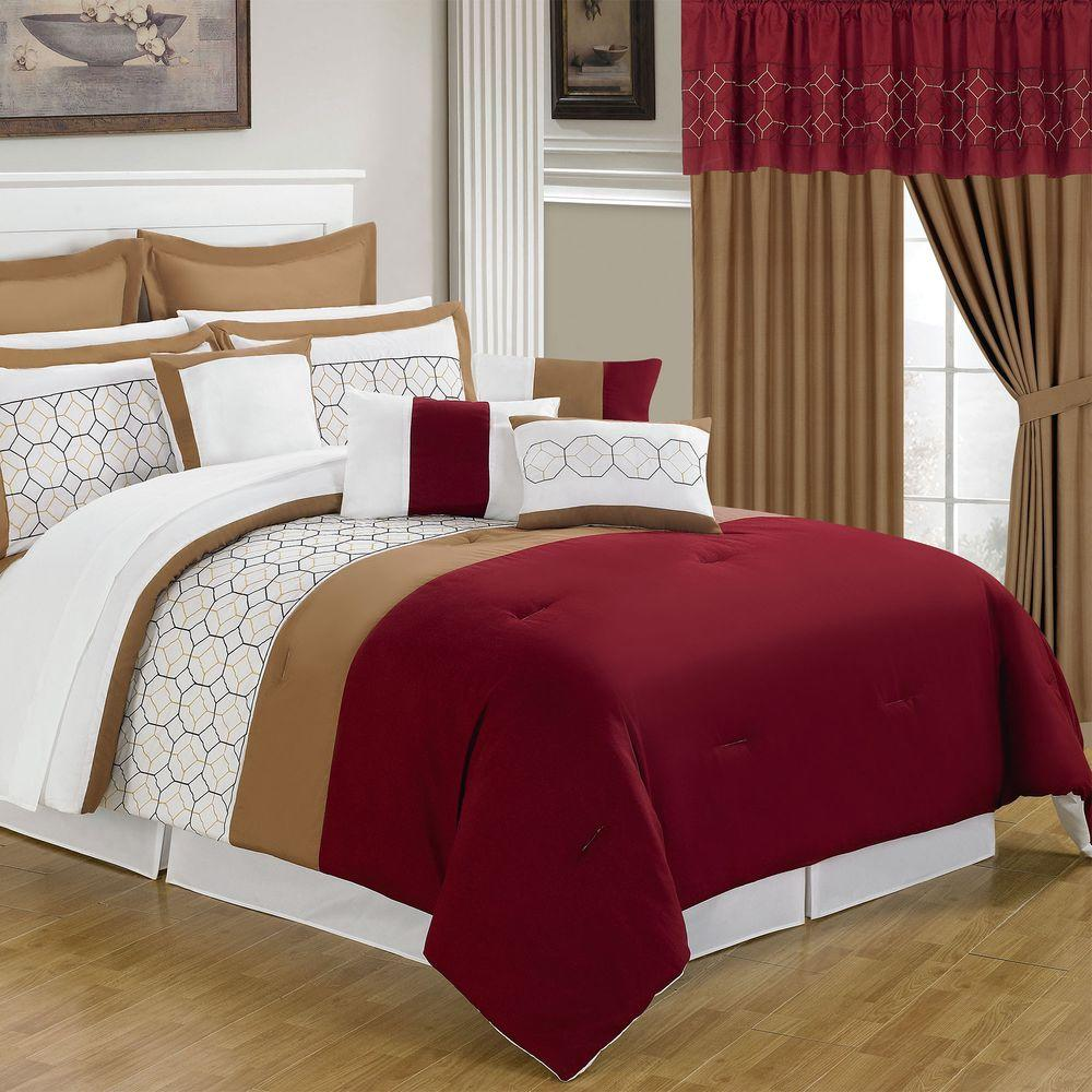Gentil Lavish Home Sarah Red 24 Piece Queen Comforter Set