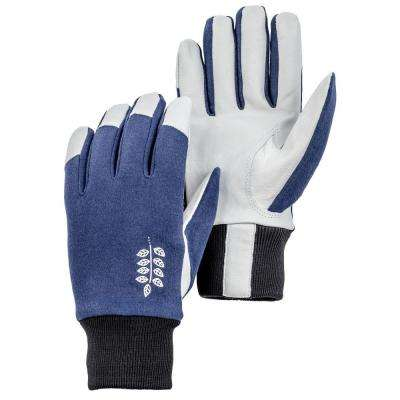 Job Garden Facilis Size 9 Large Lightweight Pigskin Leather Glove Indigo/Black/White