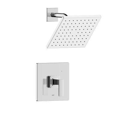 Htel de Ville Single Handle 1-Spray Square Shower Faucet with Rough-In Valve in Chrome