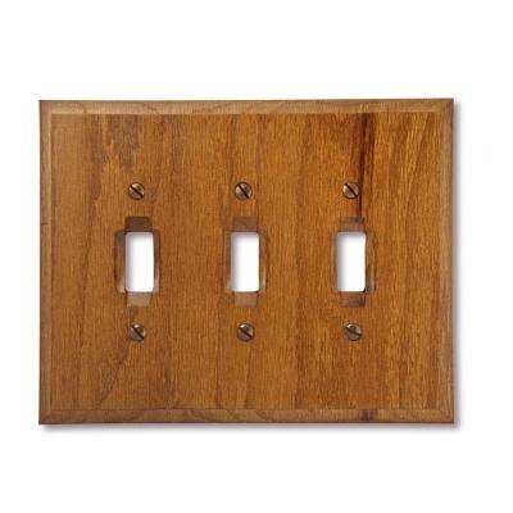 3 Toggle Wall Plate - Red Oak