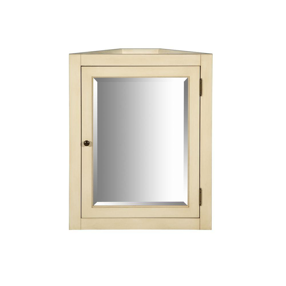 Hembry Creek Richmond 24 in. x 30 in. Surface-Mount Mirrored Corner Medicine Cabinet in Parchment