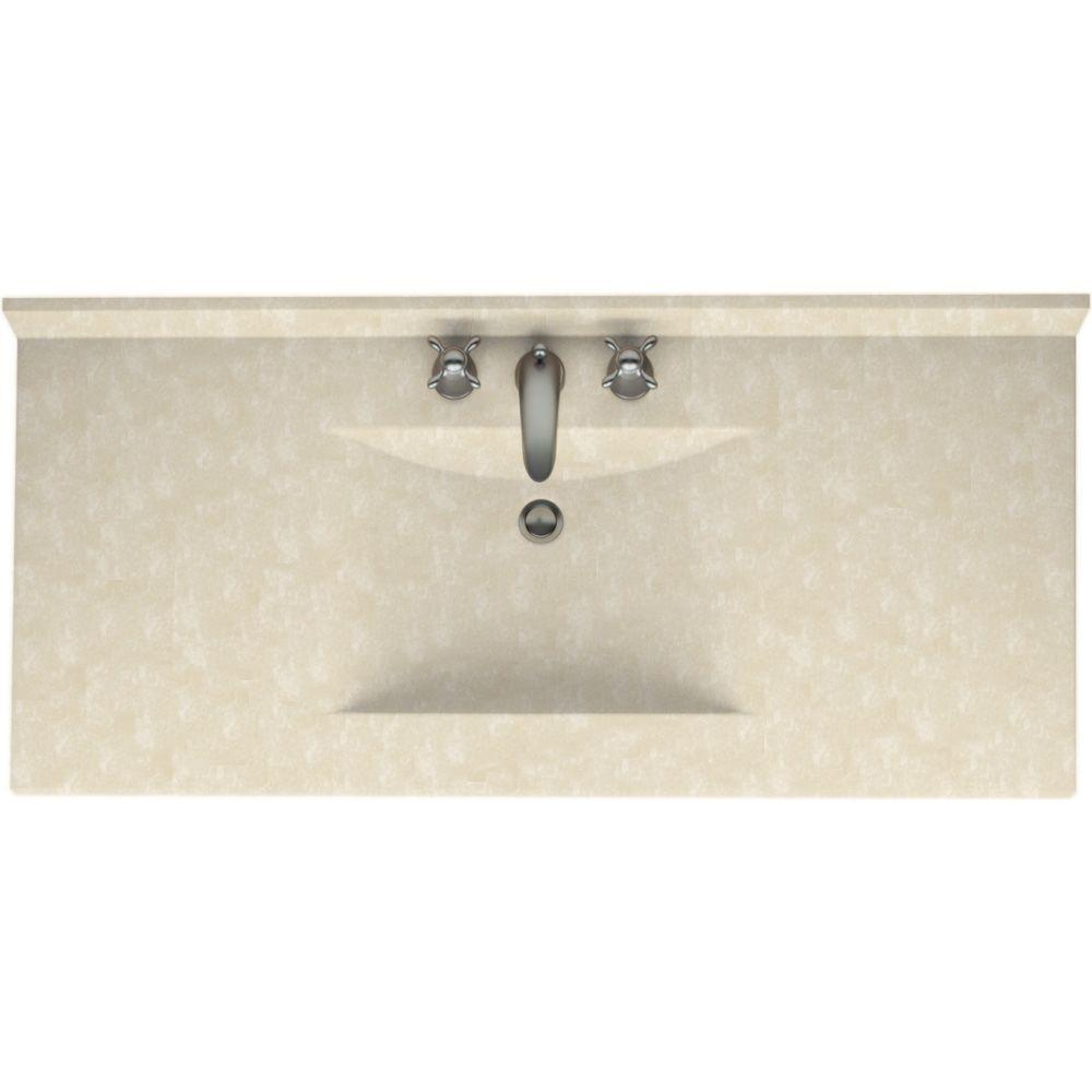 Swanstone Contour 49 in. Solid Surface Vanity Top with Basin in Cloud Bone