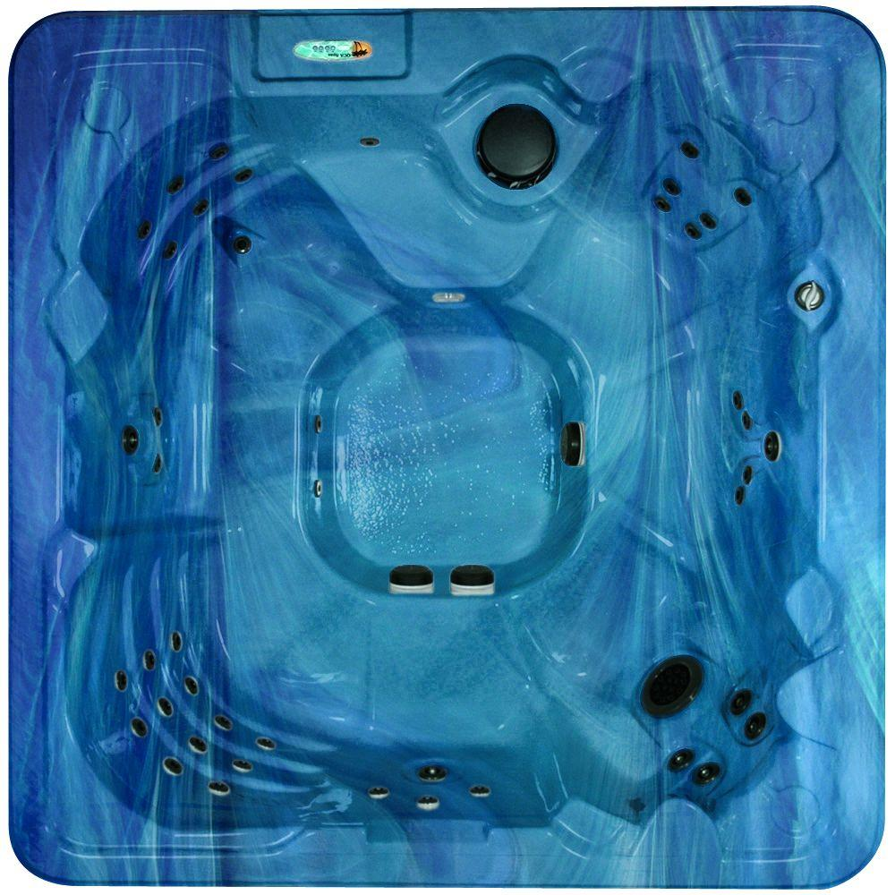 QCA Spas Corsica 8-Person 60-Jet Spa with Ozonator, LED Light, Polar Insulation, WOW Sound System and Hard Cover