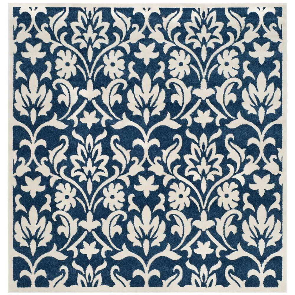 Indoor Outdoor Rugs Square: Safavieh Amherst Navy/Ivory 7 Ft. X 7 Ft. Indoor/Outdoor