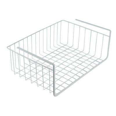 17 in. White Wire Under Shelf Storage Organization Basket