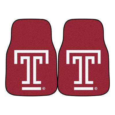 NCAA Temple University 17 in. x 27 in. 2-Piece set of Carpet Car Mats