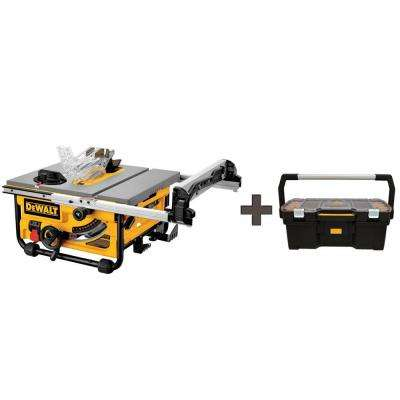15-Amp 10 in. Job Site Table Saw with Free 24 in. Tote with Organizer