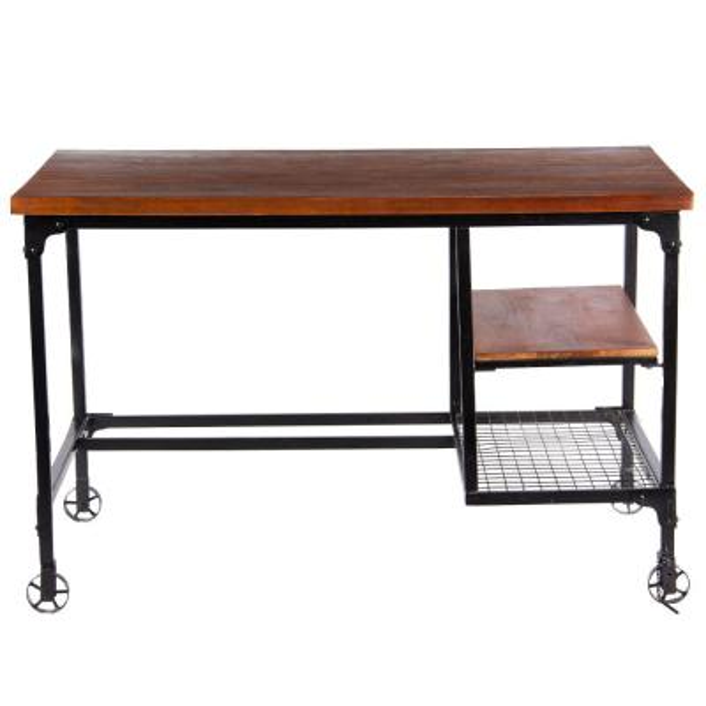 bc82c16f Brown Industrial Design Wooden Desk with 2-Bottom Shelves