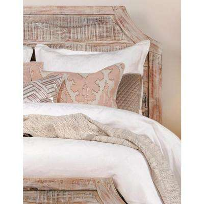 Faith Blush Linen 22 in. x 22 in. Square Embroidery Reversible Decorative Pillow