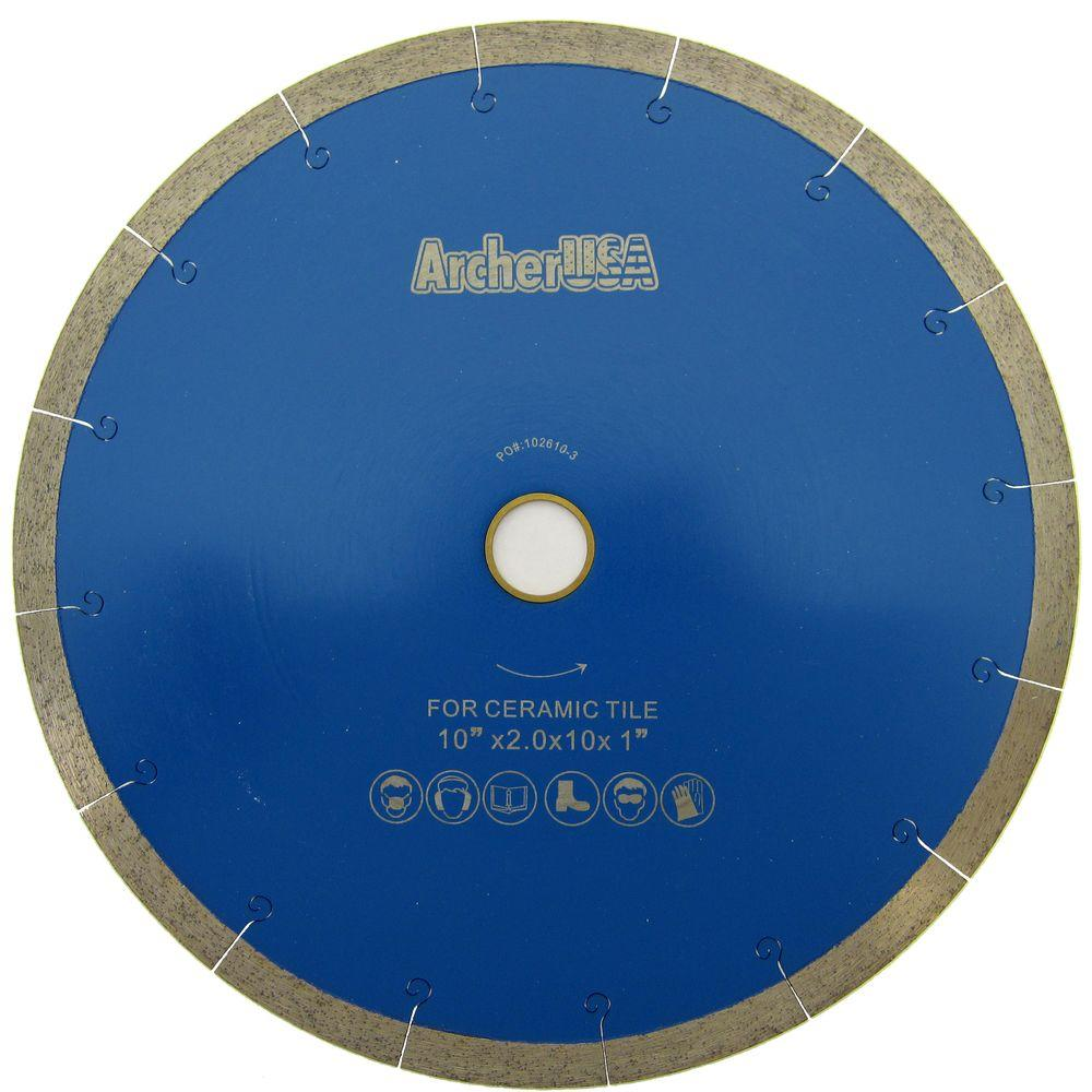10 in. Continuous Rim Diamond Blade with J-Slot for Tile Cutting
