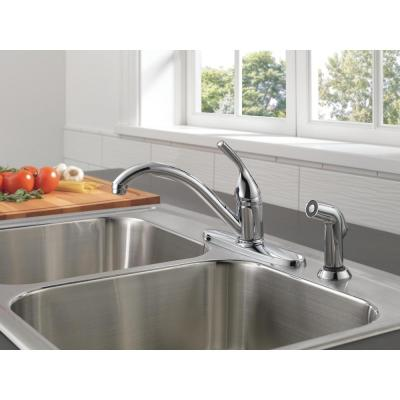 Classic Single-Handle Standard Kitchen Faucet with Side Sprayer in Chrome