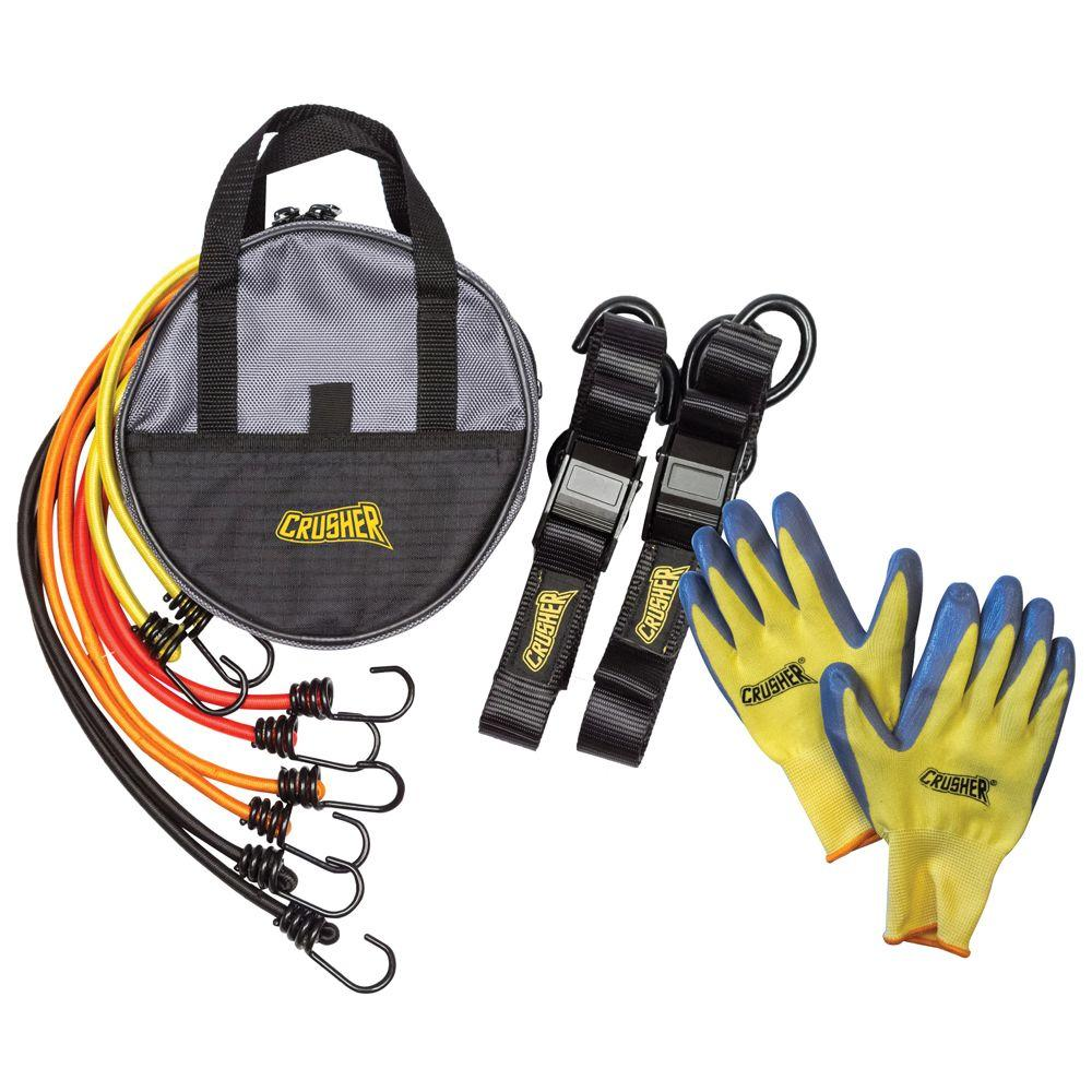 Crusher Cargo Tie Down Kit with Soft End Safety Lock Clips, Bungee Cord Kit with Assorted Lengths & Heavy Duty Black Storage Bag