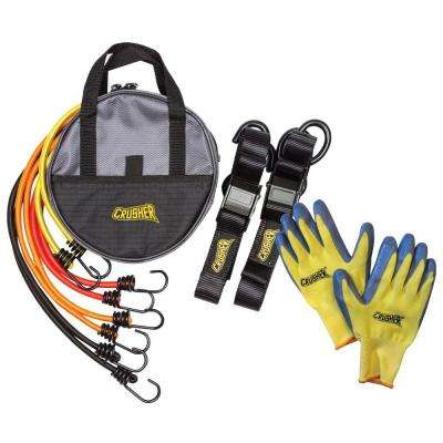 Cargo Tie Down Kit with Soft End Safety Lock Clips, Bungee Cord Kit with Assorted Lengths & Heavy Duty Black Storage Bag