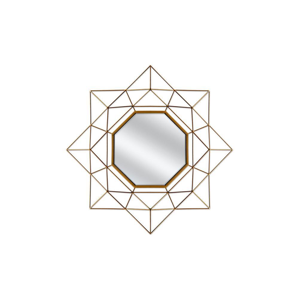 Geo 28 in. Gold Metal Wall Mirror