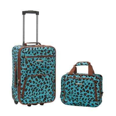 Rockland Rio Expandable 2-Piece Carry On Softside Luggage Set, Blueleopard