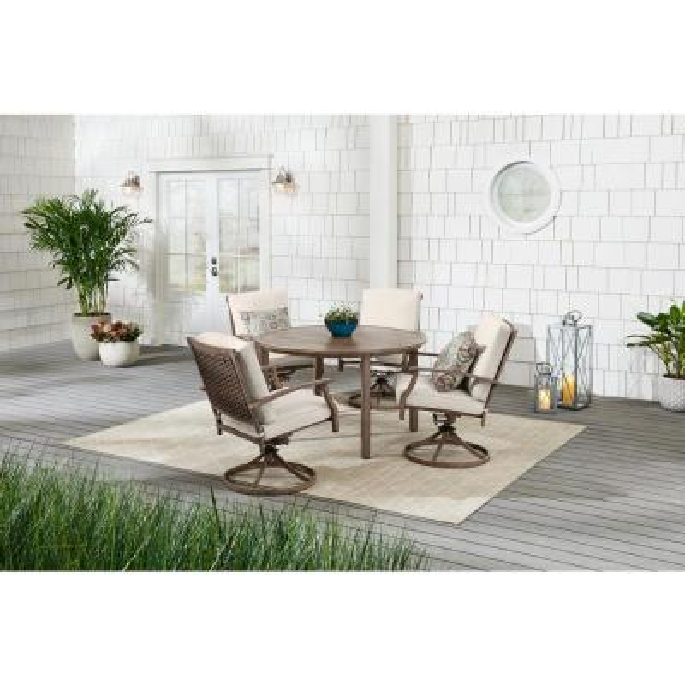 Geneva 5-Piece Brown Wicker Outdoor Patio Dining Set with CushionGuard Almond Tan Cushions