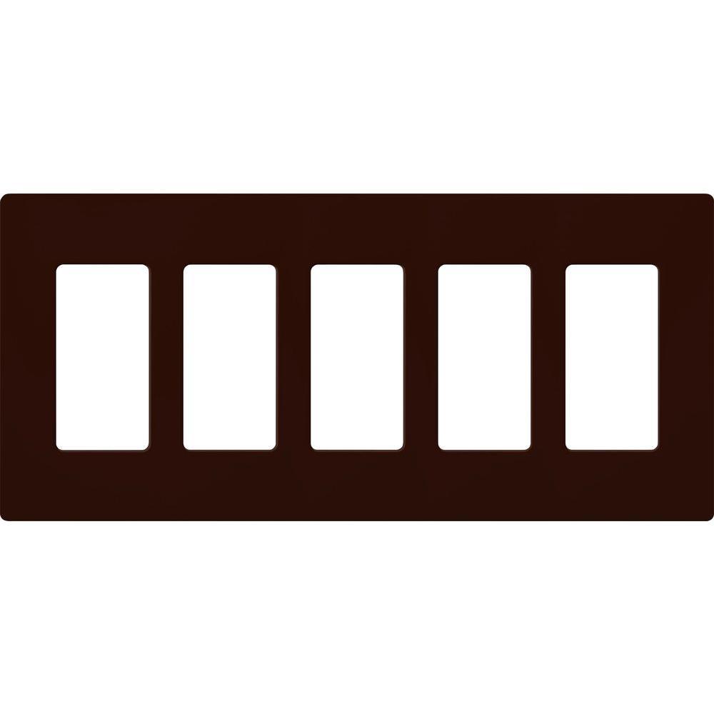 Lutron Claro 5-Gang Wall Plate - Brown
