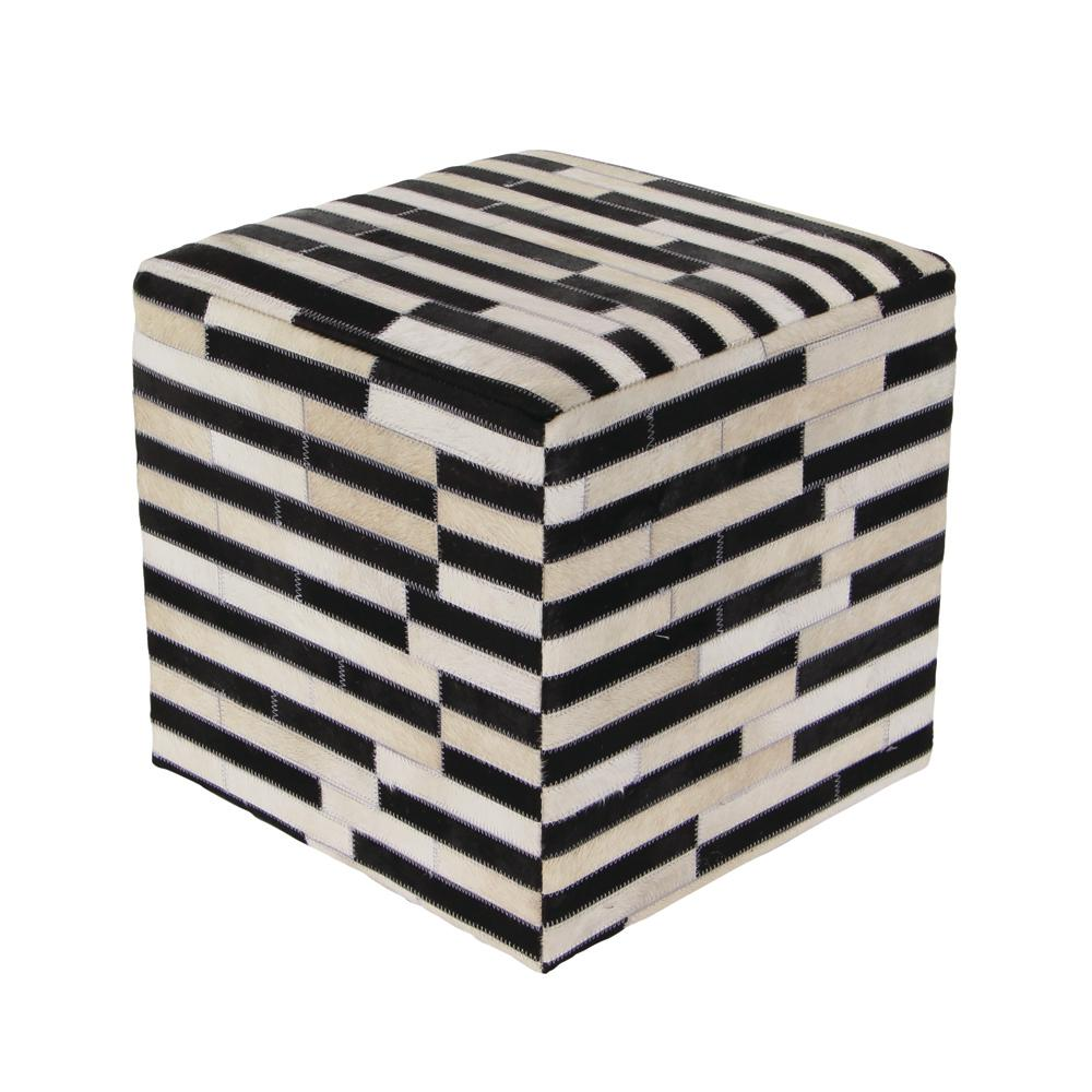 Litton Lane 16 in. x 16 in. Leather and Wood Square Stool with Black and White Rectangular Patterns