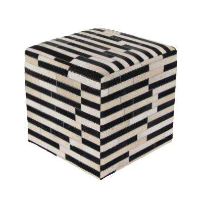 16 in. x 16 in. Leather and Wood Square Stool with Black and White Rectangular Patterns