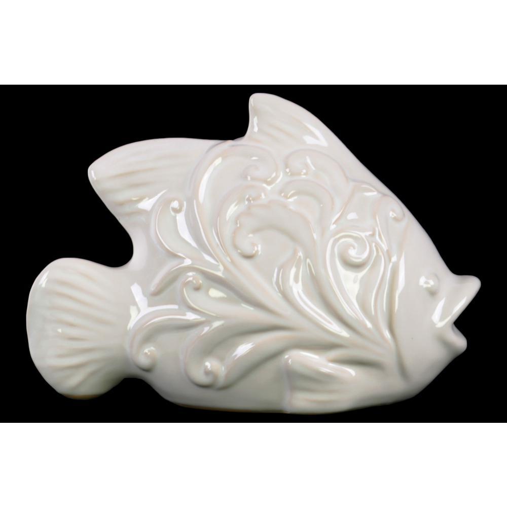 6.5 in. H Fish Decorative Figurine in White Gloss Finish