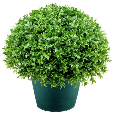 13 in. Globe Artificial Japanese Holly Bush in Dark Green Round Growers Pot
