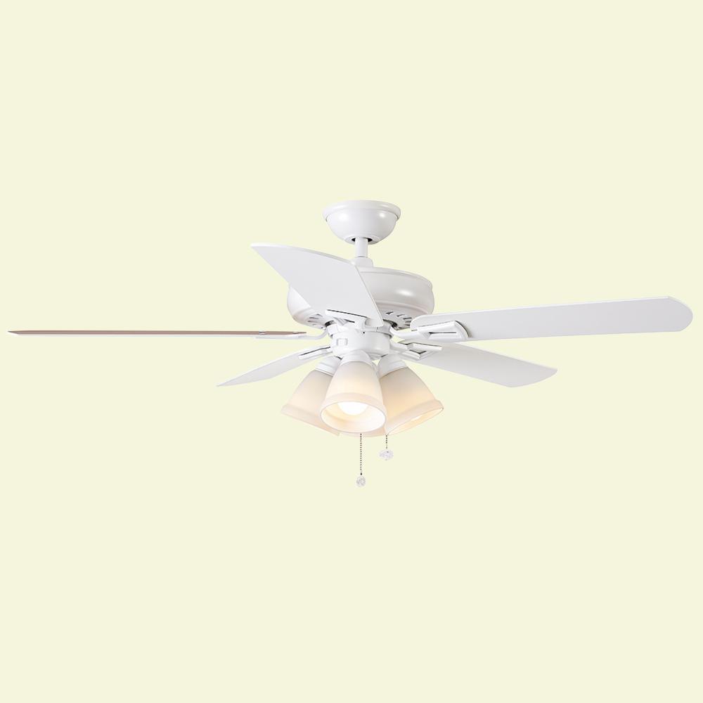 Lyndhurst 52 in. Indoor Matte White Ceiling Fan with Light Kit