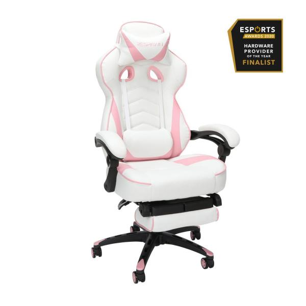 110 Racing Style Gaming Chair, Reclining Ergonomic Leather Chair with Footrest, in Pink (RSP-110-PNK)