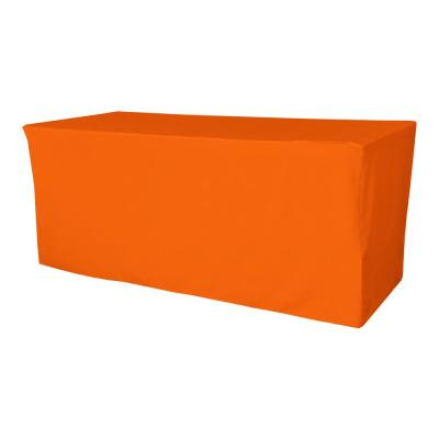 96 in. L x 48 in. W x 30 in. H Orange Polyester Poplin Fitted Tablecloth
