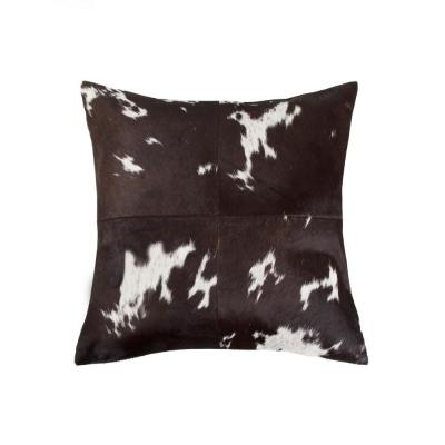 Torino Quattro Cowhide Chocolate & White Animal Print 18 in. x 18 in. Throw Pillow