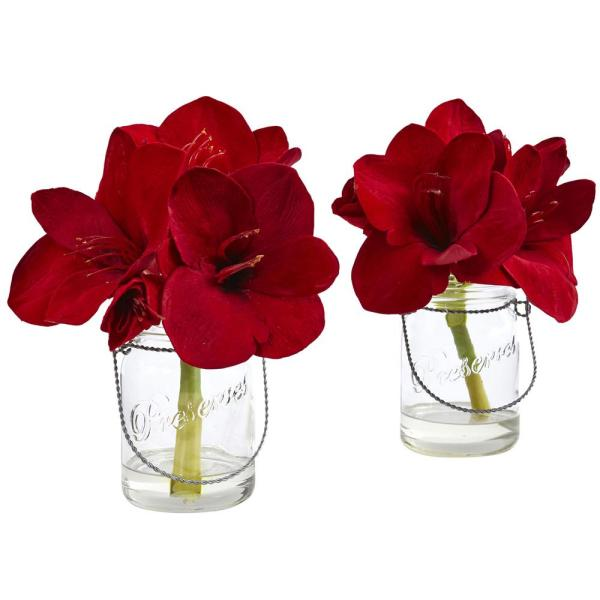 Nearly Natural Amaryllis in Glass Vase (Set of 2) 4547-S2
