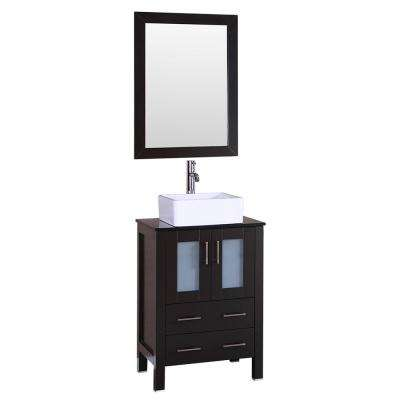 24 in. W Single Bath Vanity with Tempered Glass Vanity Top in Black with White Basin and Mirror