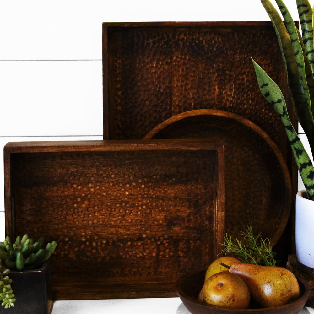 Artisan Wood - Hammered Natural Decorative Tray