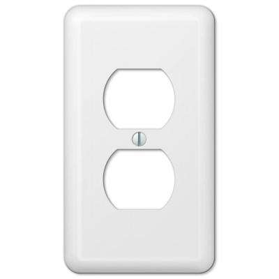 Declan 1 Duplex Outlet Plate - White Steel
