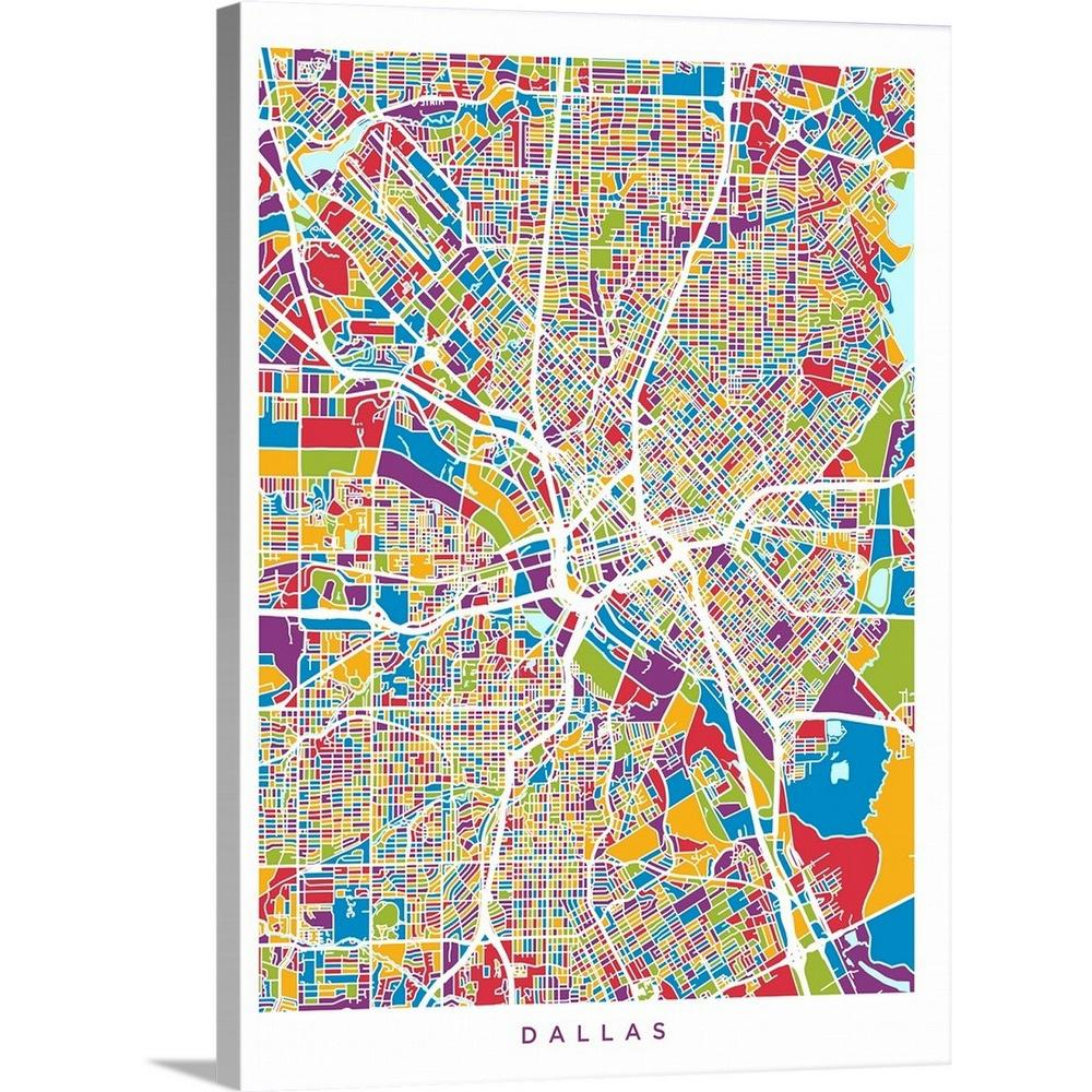 Greatbigcanvas 30 In X 40 In Dallas Texas City Map By Michael