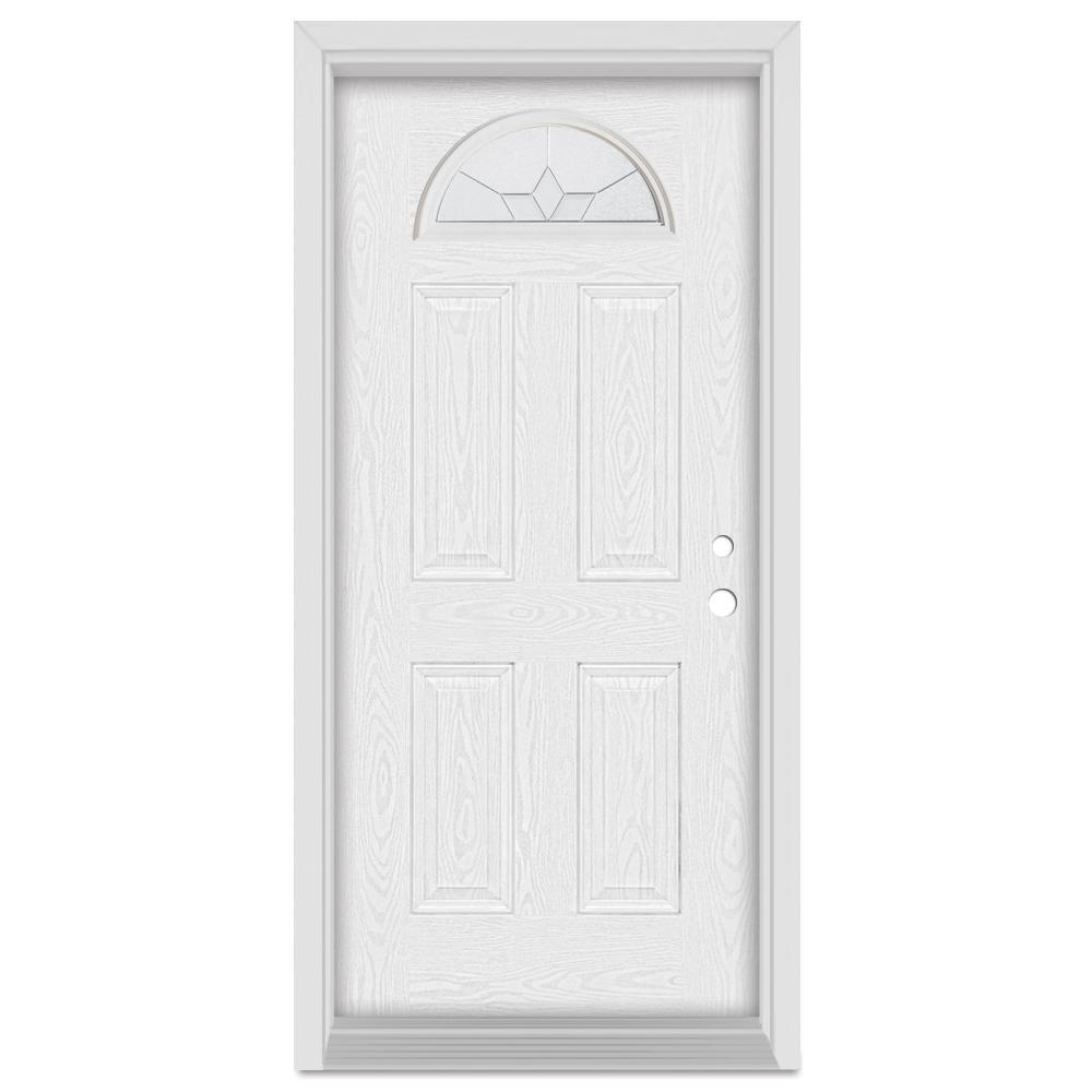 Stanley Doors 36 in. x 80 in. Geometric Left-Hand Half Moon Lite Zinc Finished Fiberglass Oak Woodgrain Prehung Front Door