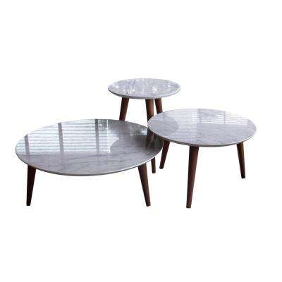 Moore Marble Grey Round End Table (Set of 3)