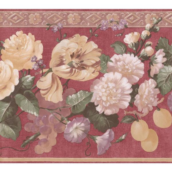 Retro Art Blooming Yellow White Purple Flowers on Red Floral Extra