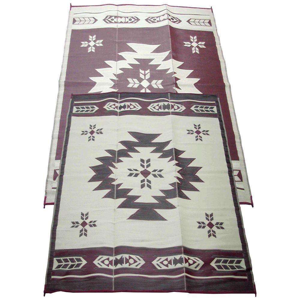 Fireside Patio Mats Navajo Breeze Burgundy/Beige 6 Ft. X 9 Ft. Indoor