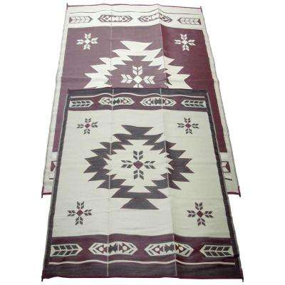 Navajo Breeze Burgundy/Beige 6 Ft. X 9 Ft. Indoor/Outdoor Reversible