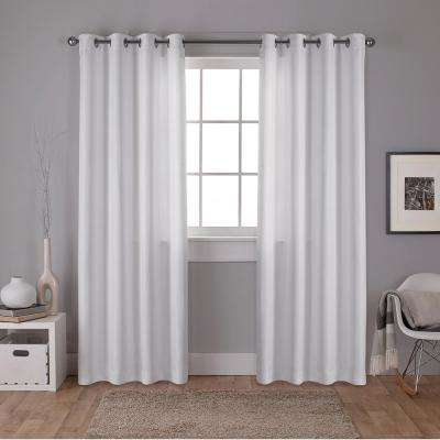 Carling 52 in. W x 108 in. L Woven Blackout Grommet Top Curtain Panel in Winter White (2 Panels)