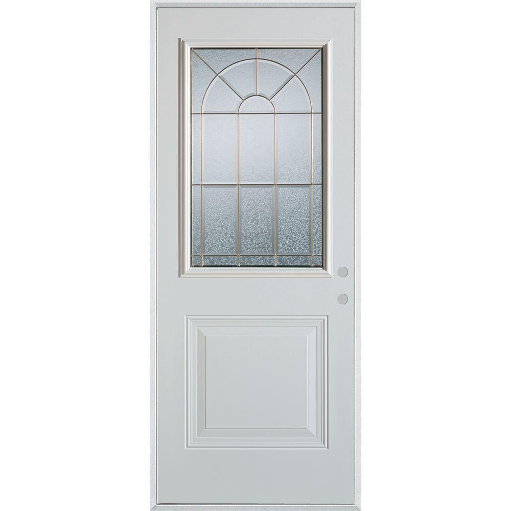 Stanley Doors 37.375 in. x 82.375 in. Geometric Zinc 1/2 Lite 1-Panel Painted White Left-Hand Inswing Steel Prehung Front Door