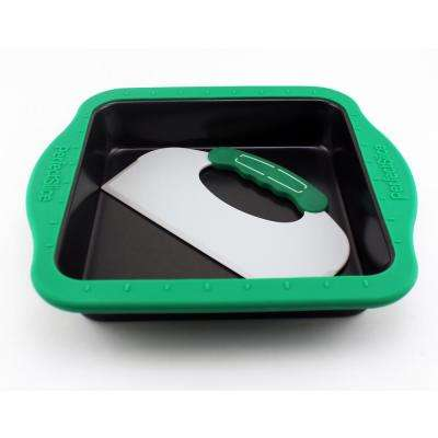Perfect Slice Square Cake Pan with Silicone Sleeve and Slicing Tool